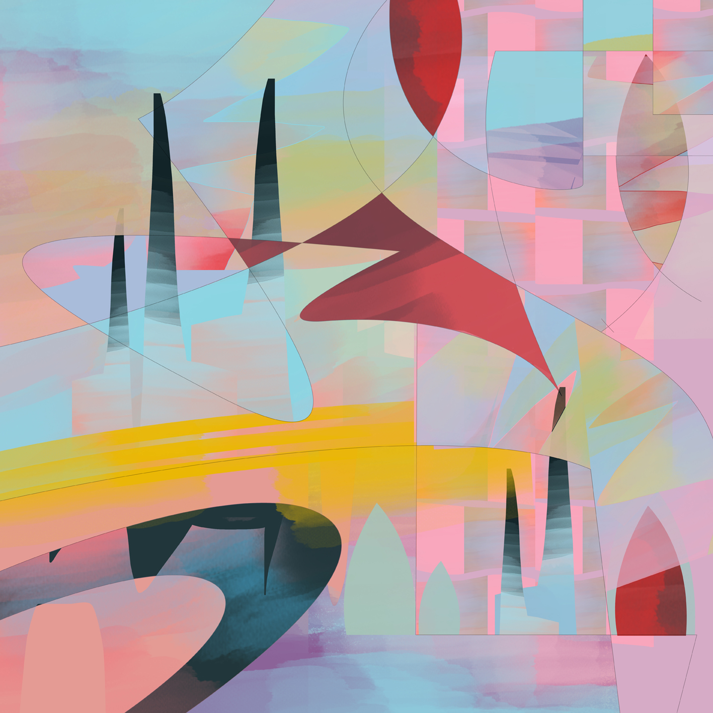 Abstract Composition N4 - 40x40cm Giclée su tela
