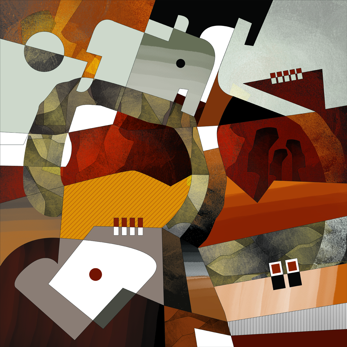 Abstract Composition N8 - 40x40cm Giclée su tela